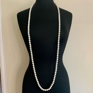 Vintage Long Pearl Necklace Silver Clasp Knotted